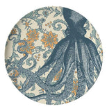 This dinner plate has a design of a dark blue octopus against a flowery oceanic background.