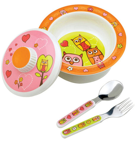 this owl bowl has pink, yellow and orange owls on it and it includes a matching lid, spoon and fork