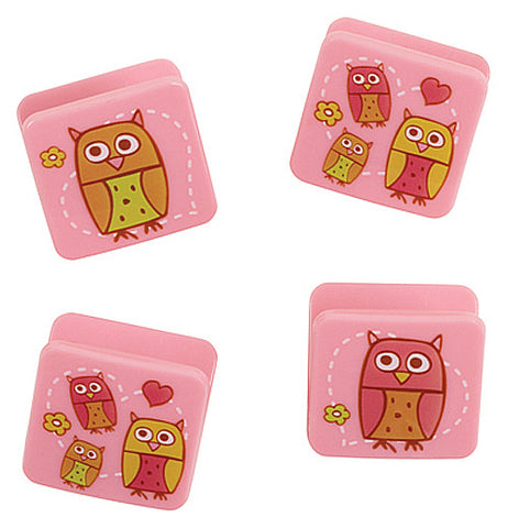 Set of 4 pink magnets with owls.