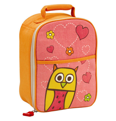 This orange and pink backpack has an owl and heart design covering its back.