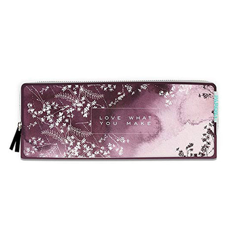 "The ""Plum Watercolor"" Pencil Case has words over a purple background that says, ""Love What You Make""."