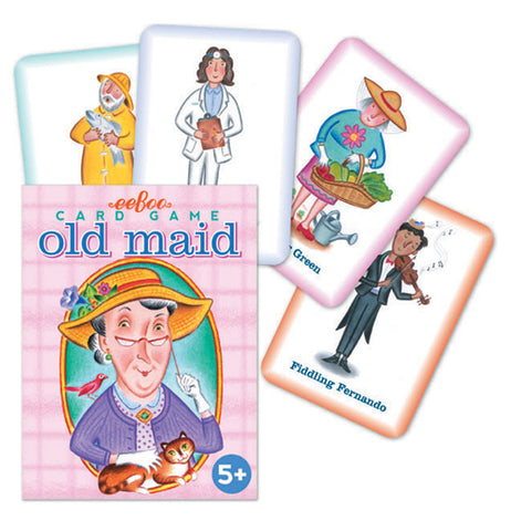 The pink box with the picture of the old lady with the bird and the tabby cat is shown with some of its cards on display. The cards each have different pictures: a fisherman, a nurse, a gardener, and a violin player.