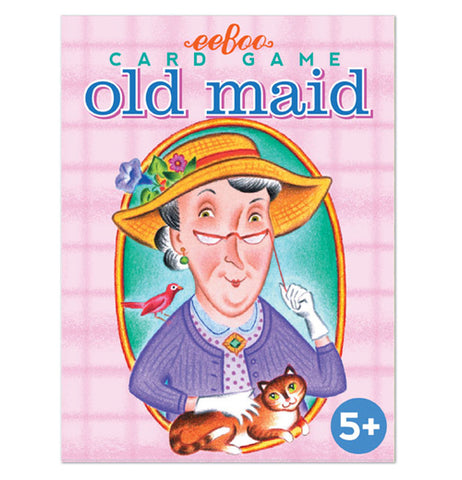 "This pink playing card box features a picture of an old lady wearing a yellow hat and purple sweater. Sitting on her shoulder is a small red bird. She is stroking a brown-orange tabby cat. The logo, ""eeBoo"" is shown in red lettering above the picture of the lady. Below the logo are the words, ""Card Game old maid"" in teal and blue lettering."