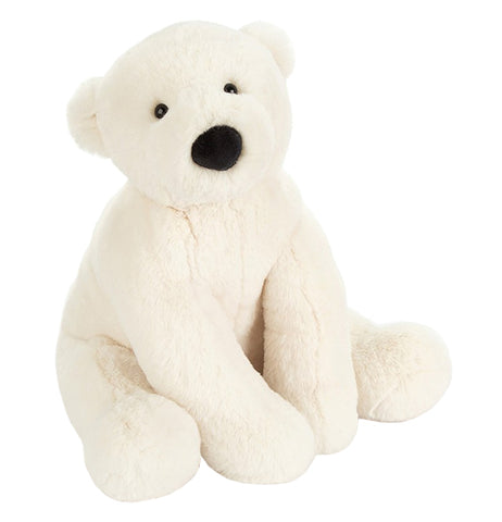 A pure white stuffed polar bear with a black nose and eyes sitting in an upright position
