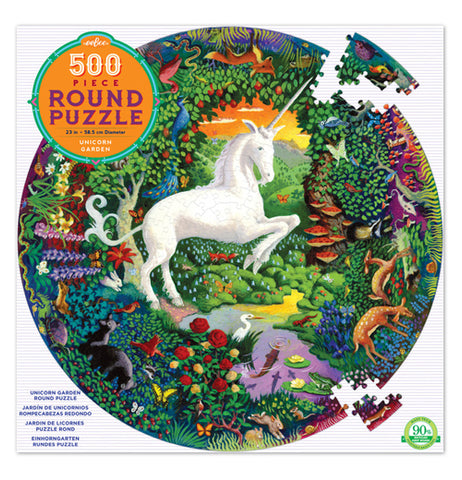 "The box of the ""Unicorn Garden"" Puzzle Box, which contains 500 multicolored puzzle pieces, shows a white unicorn in a center of a colorful garden."