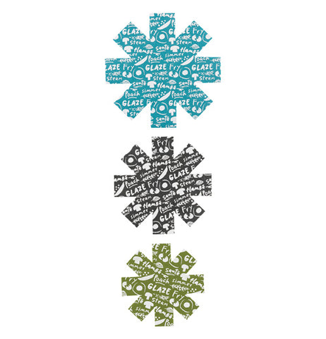 Three snow flakes shaped pan protectors in blue, black, and green, with text on them.