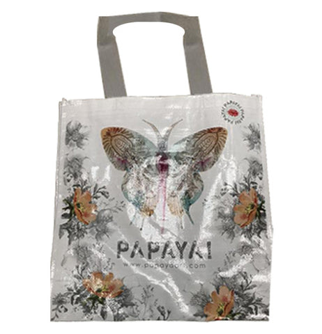 "The bag features a decorative butterfly in the center with orange flowers on the sides and the bottom on a white background. Underneath the butterfly is the text ""Papaya"" along with the web address ""www.papya.com"