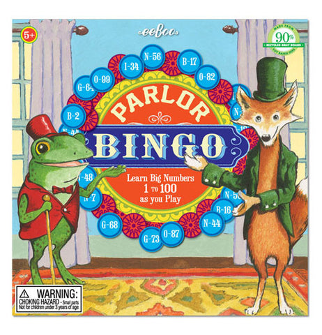 It's an image of a frog and a fox dressed up in clothes standing in front of a banner that says Parlor Bingo.