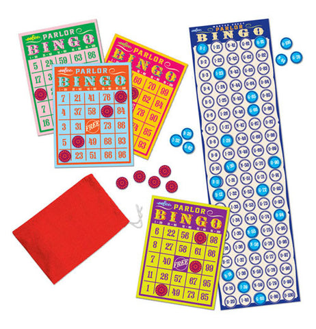 Bingo Cards and marker tokens along with the master sheet and a red bag.