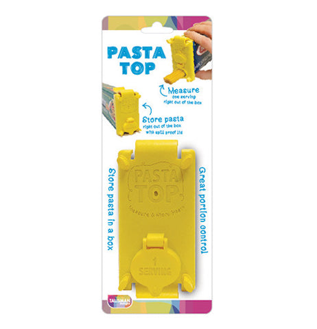 This pasta box top is yellow and shown in its original packaging.