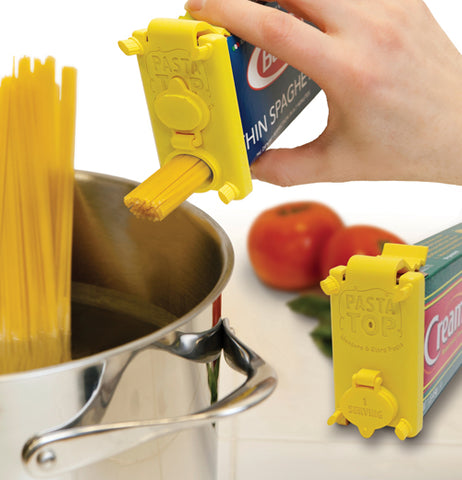 This pasta top is yellow and showing someone using it.