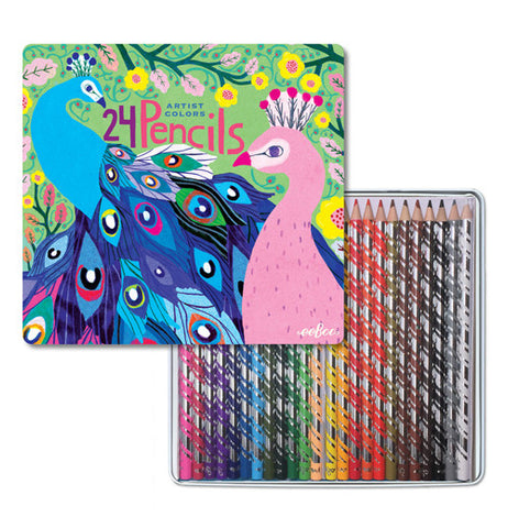Artist Colors Set Of 24 Colored Pencils In A Decorative Tin