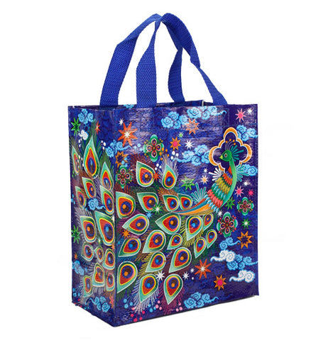Blue handy tote bag with handles and bright colorful peacock design.