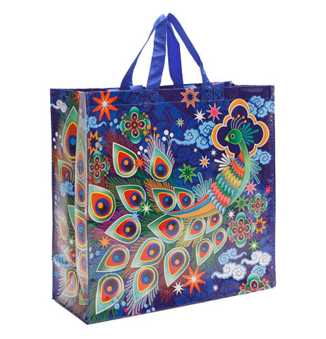 Blue shopper bag with a colorful peacock design on it.