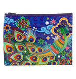 Peacock pouch with a peacock with pretty flowers and clouds in the beautiful night sky.