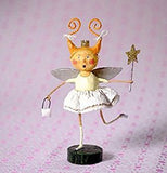 Toothfairy figurine standing on a pink background