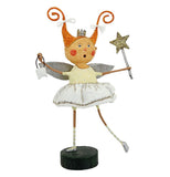 Pippy longstocking looking fairy is dressed in white.  she has a star wand in one hand and a purse in the other.