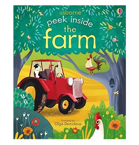 "This farming themed book titled ""Peek Inside The Farm"" in yellow and white lettering features tractors, plants, and farm animals."