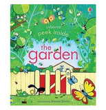 "A garden themed book titled ""Peek Inside the Garden"" featuring butterflies, insects, and plants"