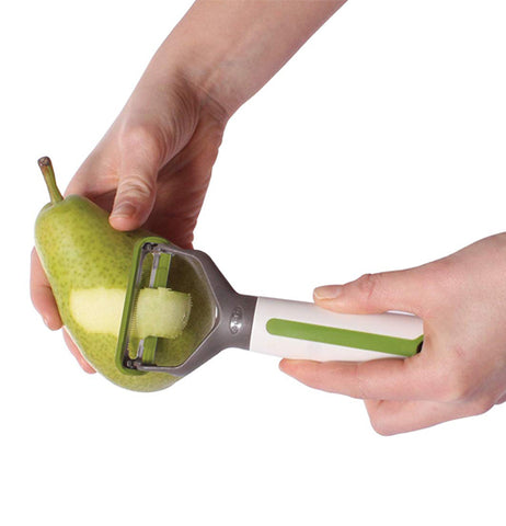 this 3-1 force peeler is used to peel vegetables and fruit. It is green and white and it comes with a sharp serrated edge.