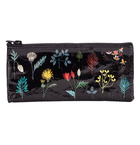This black pencil case with blue, red, white, and yellow flowers.
