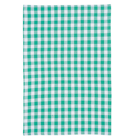 a plaid green and white tea towel.