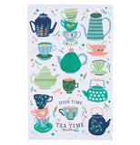 A tea towel with different sized and shaped tea kettles and cups, that have patterns ranging from blue and green stripes to flowers