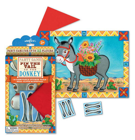 "The ""Pin the Tail on the Donkey"" Party Game has been taken out with pairs of removable sticker tails, and game board unfolded."