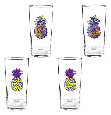 These pineapple glasses have four diferent colors on them some are green and brown the others are purple and yellow. there is one pineapple on each glass.