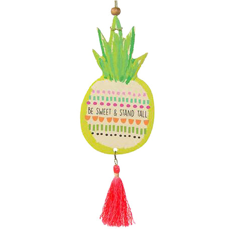 "This pineapple shaped air freshener with a message, ""Be Sweet and Stand Tall"", is great to hang in the car."