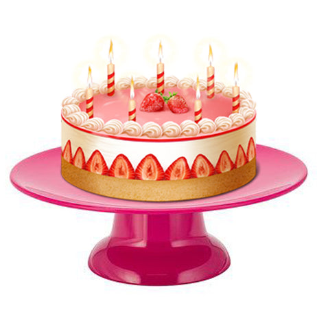 A birthday cake with candles is shown sitting on the pink cake stand.