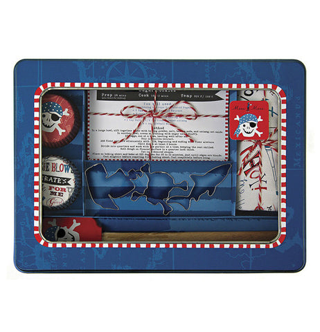 Blue case containing baking supplies that are white, red, and blue