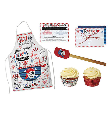 Pirate apron, recipes, red spatula, and cup cakes