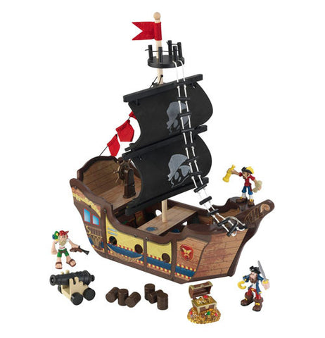 black, red, and brown pirate ship play set