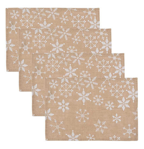 set of 4 burlap Placemats with Snowflakes