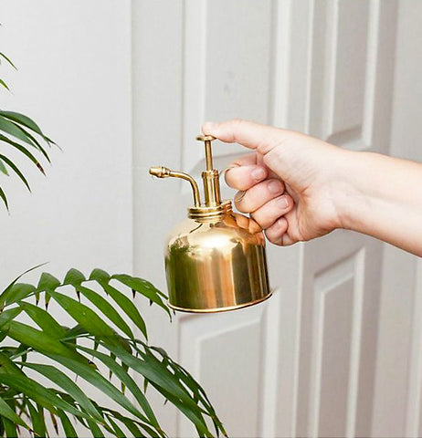 Gold Watering can being used and has a white background