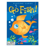 "The Front of The Packaging shows a gold fish under the water with the words ""Go Fish!."""