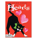 "the case for the cards is solid red with a black cat stretching on it and pink hearts coming from the cat, the word ""Hearts"" is in big white lettering and ""Playing Cards"" is in small black lettering above it"