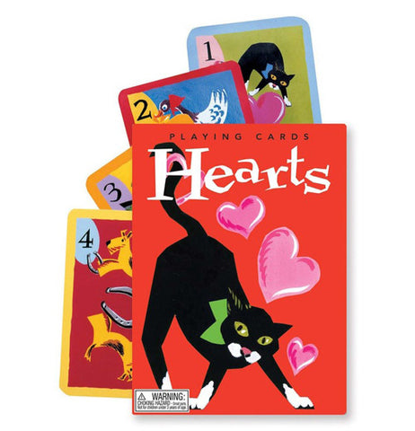 the red cover with the cat and hearts has 4 cards poking out behind it.
