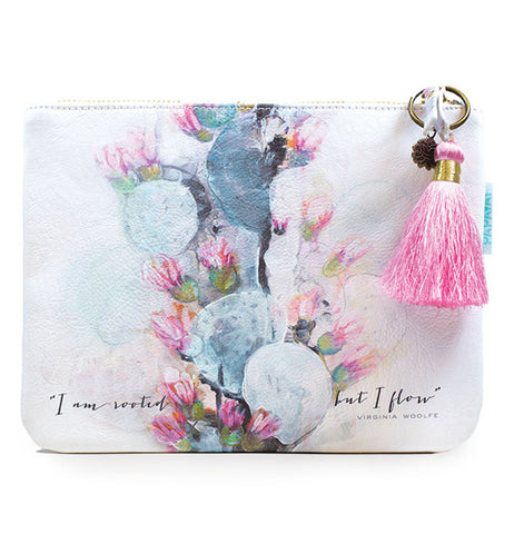 Blooming cactus pouch that is all pastel shades of grey, blue, white, and pink.