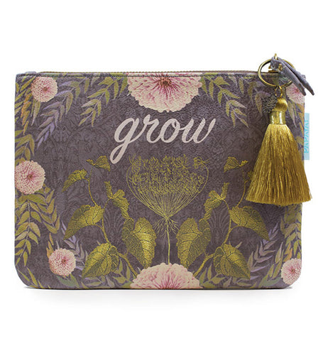 Grey pocket clutch with floral pattern complete with dazzling golden tassel.