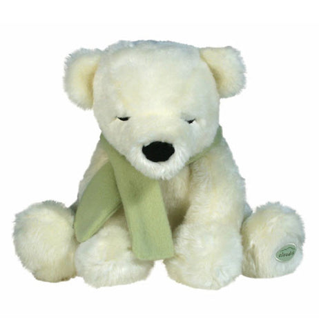 "The White ComfortingTouch ""Polar Cuddle Bear"" sits in front with a green scarf around his neck."