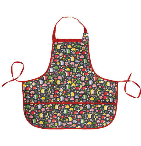 This black kiddie apron has a design of red, yellow, green, gray, and pink hedgehogs covering it and red tying strings.