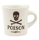 "This white ceramic mug has a skull and cross bones design with the word, ""Poison"" written on it in brown lettering."