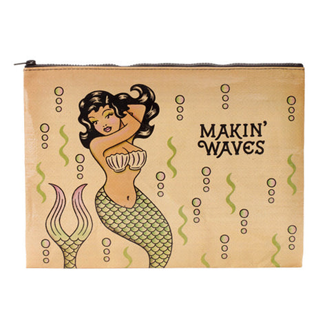 "A tan pouch featuring a vintage style mermaid with the phrase ""Makin' Waves"" and a pattern of bubbles and seaweed."