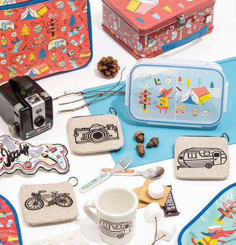Camera coin purse with camper coin purse and bicycle coin purse with food container, kid silverware and lunch boxes