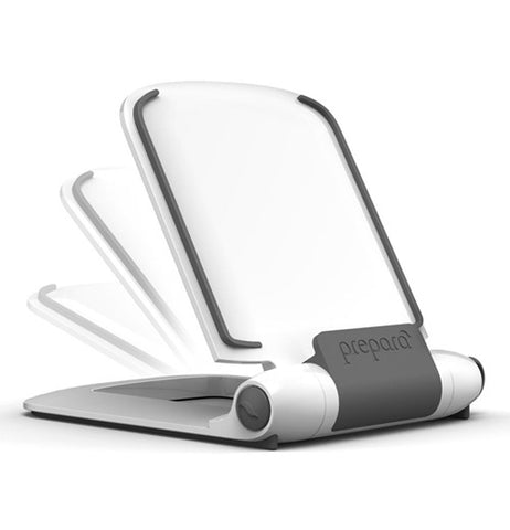 This is a plastic grey and white multi positioning tablet stand.
