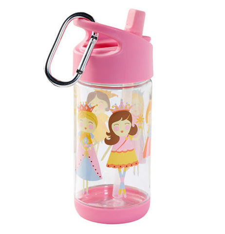 A cup with a pink non dripping lid and with a clip on, with princesses smiling.