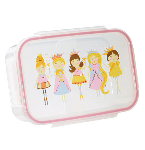 Lunch box container has princess on it.