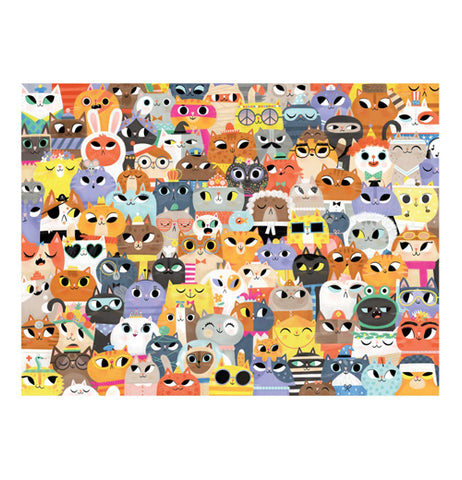 "Completed ""Lots of Cats"" 500 piece puzzle with cat design on it."